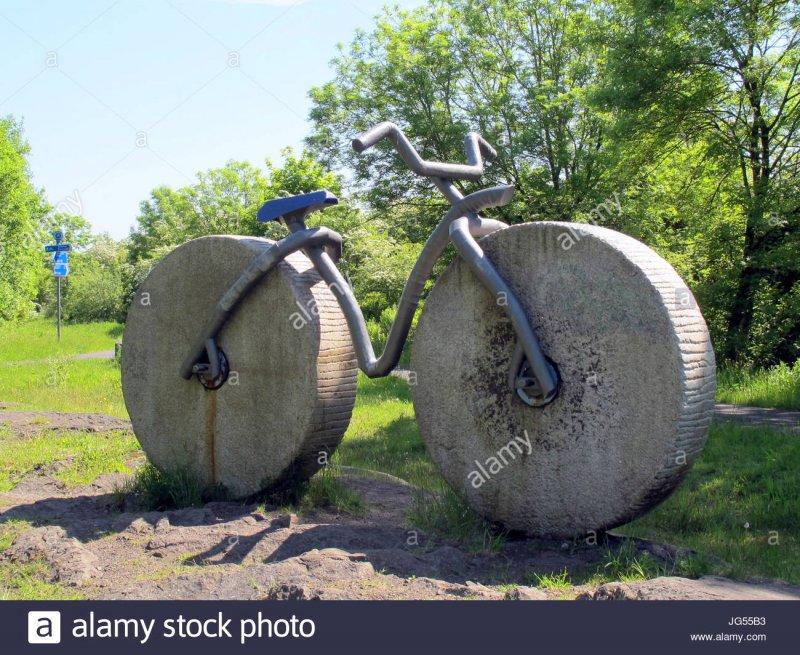 bicycle-path-artwork-stone-fred-flintstones-bike-cycle-route-ncn7-JG55B3.jpg